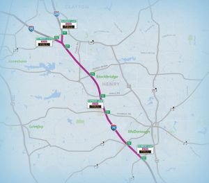 Map of I-75 showing toll locations