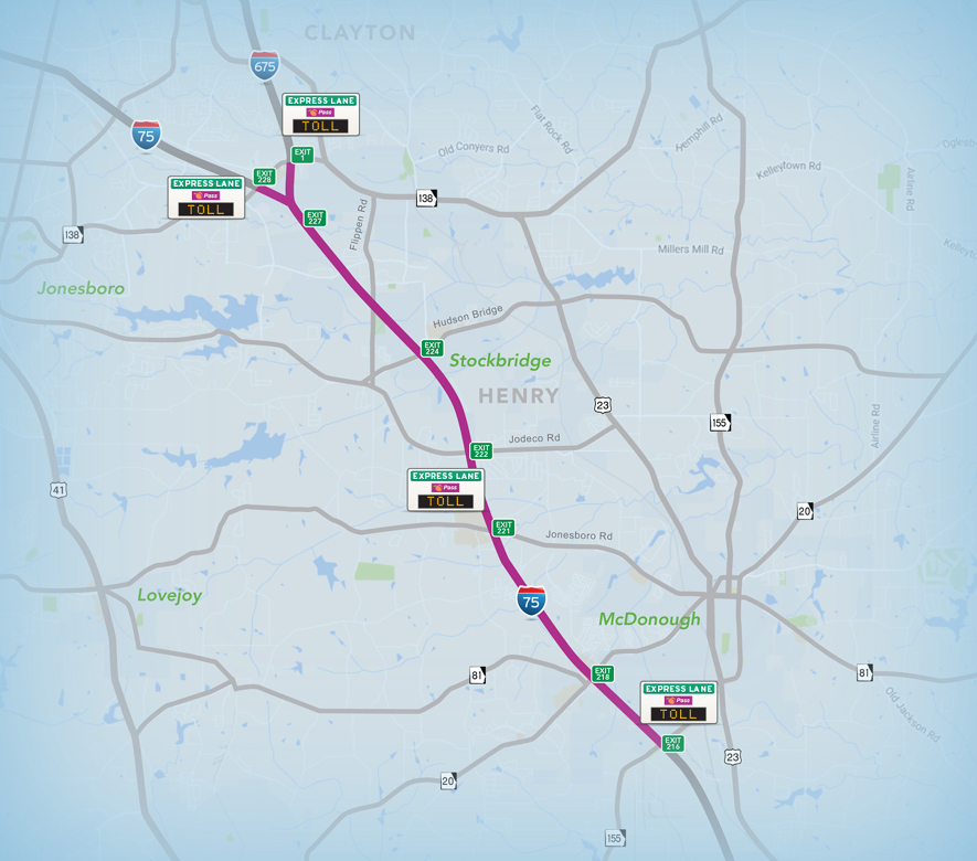 I-75 Map with Toll rates