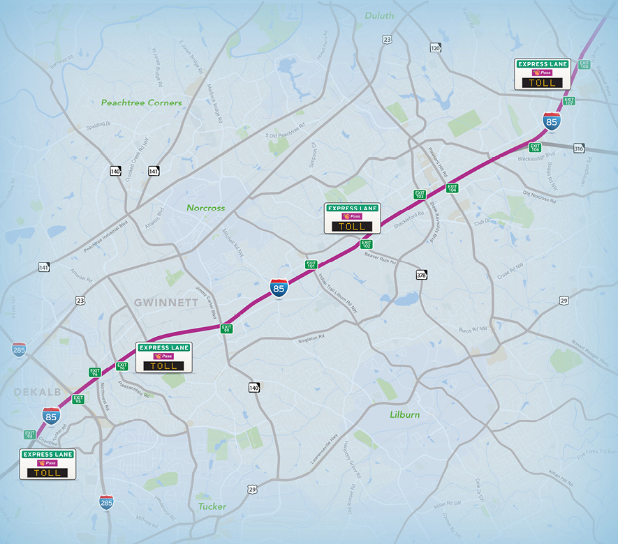 I-85 Map with Toll rates