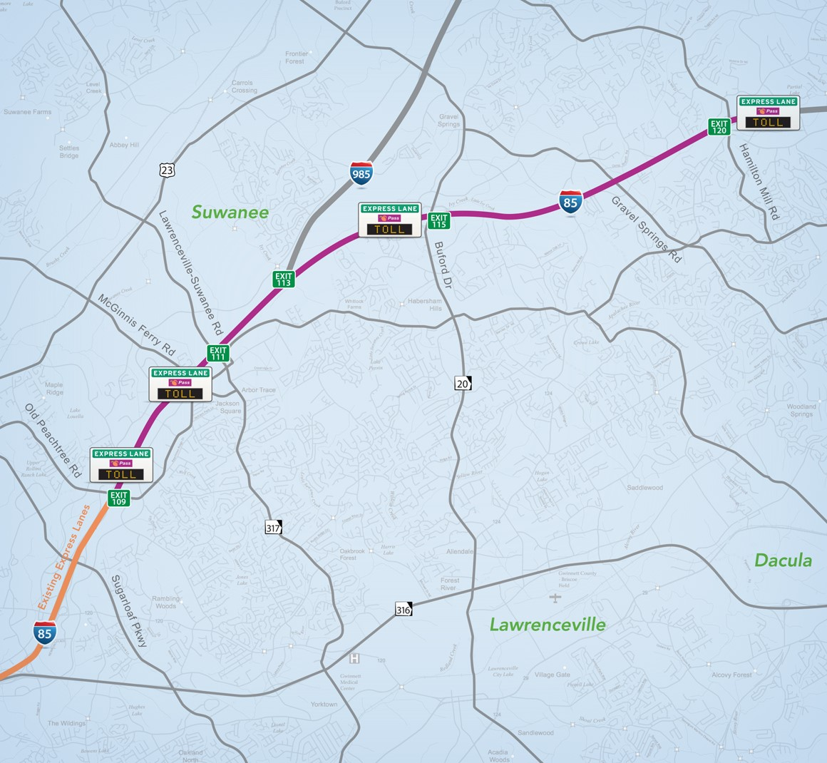 I-85 Extension Map with Toll rates