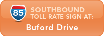 I-85 Southbound toll rate sign at Hamilton Mill Road